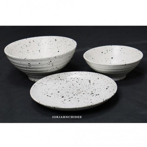 เซ็ตจานชามเซรามิค ลายเปลือกไข่นกกระทา
