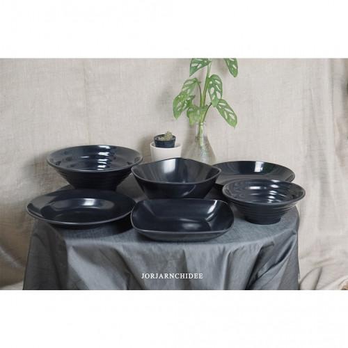 เซ็ตจานชามเมลามีนสีดำ