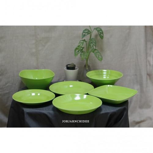 เซ็ตจานชามเมลามีนสีเขียว