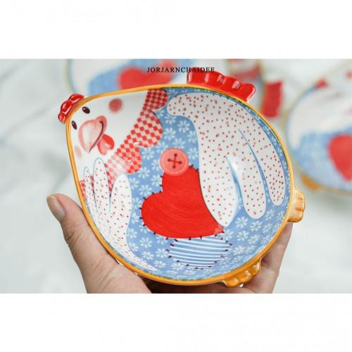 ถ้วยลายไก่ สีฟ้า 5.5