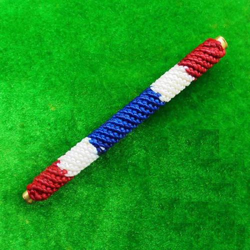 ตะกรุดโสฬสมงคล มีโค้ด จารมือ เต็มสูตร ถักเชือกลายสีธงชาติ รุ่นแรก พระอาจารย์แว่น วัดสะพานสูง