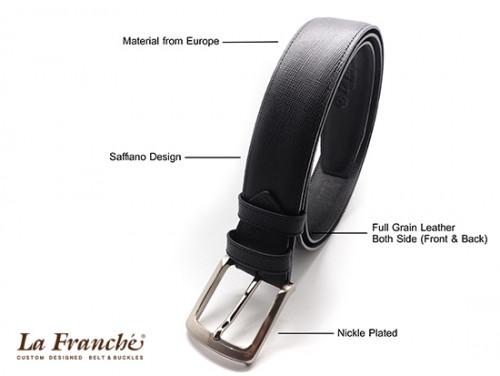 เข็มขัดหนังวัวแท้ Saffiano สีดำ พร้อมหัวเข็มขัดนิกเกิ้ล 1