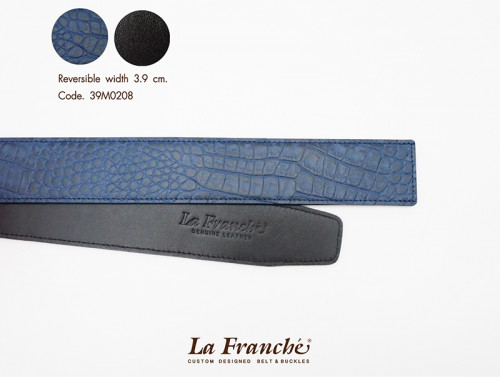 3.9 cm. Reversible Croco Blue