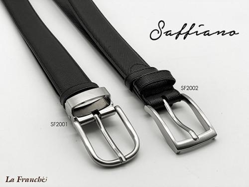 เข็มขัดหนังวัวแท้ Saffiano สีดำ พร้อมหัวเข็มขัดนิกเกิ้ล