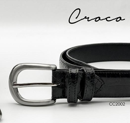 เข็มขัดหนังวัวแท้ Croco สีดำพร้อมหัวเข็มขัดนิกเกิ้ลแบบเข็ม หรือ เข็มหนีบ 2