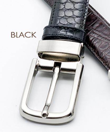 เข็มขัดหนังวัวแท้ Croco สีดำพร้อมหัวเข็มขัดนิกเกิ้ลแบบเข็ม หรือ เข็มหนีบ 1