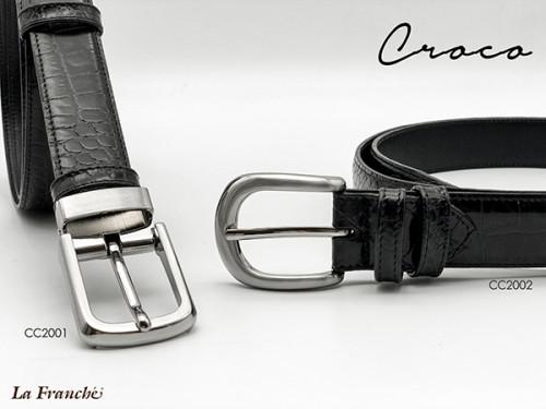 เข็มขัดหนังวัวแท้ Croco สีดำพร้อมหัวเข็มขัดนิกเกิ้ลแบบเข็ม หรือ เข็มหนีบ