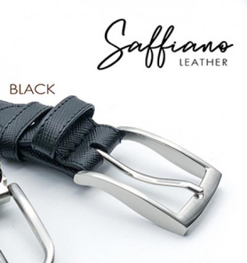 เข็มขัดหนังวัวแท้ Saffiano สีดำ หรือ ครีม พร้อมหัวเข็มขัดนิกเกิ้ล 2
