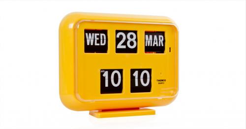 นาฬิกาตั้งโต๊ะพร้อมปฏิทินแบบแผ่นพับ TWEMCO QD-35