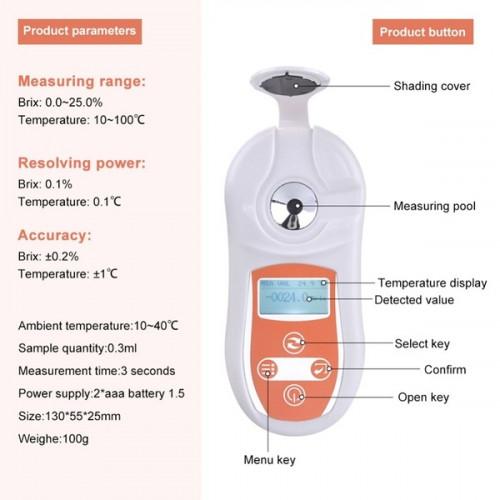 เครื่องวัดความหวาน ผลไม้ เครื่องดื่ม แคนตาลูป เมล่อน น้ำมะพร้าว อ้อย ระบบดิจิตอล ช่วงวัด 0-32% Brix 1