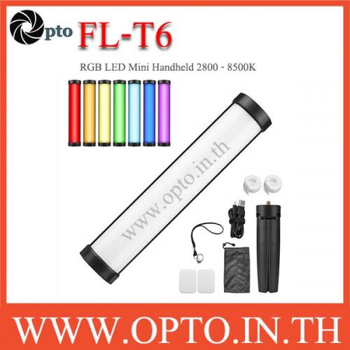 FL-T6 FLASHOOT RGB LED Mini Handheld การถ่ายภาพ Light 2800K-8500K สำหรับสตรีมสดวิดีโอ LED Video Ligh