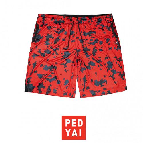 กางเกงกีฬาลายพลางสีแดง