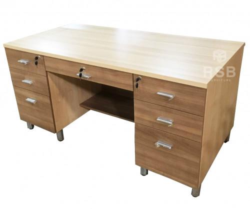 โต๊ะทำงาน เสริมขาเหล็ก 7 ลิ้นชัก  ขนาด กว้าง 180 x ลึก 75  CM รหัส 3654