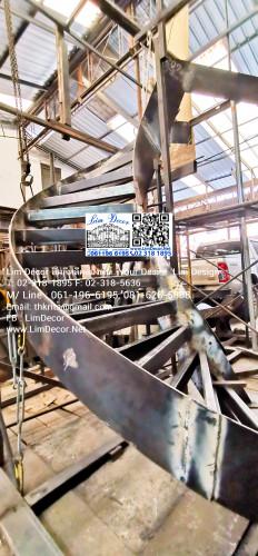 LD-B2601 ราวบันไดวนเหล็กแฟชั่นดัดโค้ง DNA พื้นสมาร์ทบอร์ด Design Wrought Iron Steel Spiral Staircase 1