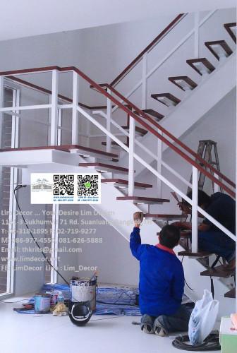 LD-B2622 ราวบันไดวนเหล็กดัดสไตล์มินิมอลในตัวบ้านดูเพล็กซ์ฟลอร์ Metal Steel Spiral Staircase in Minim 2