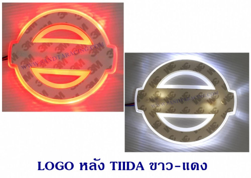 LOGO มีไฟ หลัง NISSAN TIIDA สีขาว-แดง
