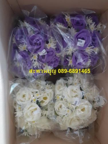 พานดอกกุหลาบสีเหลือง / สีม่วง  / สีขาว / สีชมพู /  สีฟ้า ( พานดอกไม้ ) 8