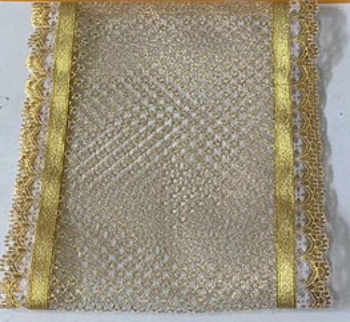 ผ้าลูกไม้ทอง สำหรับคาดผ้าไตร ตกแต่งงานบวช งานกฐิน ถวายพระสวยๆ