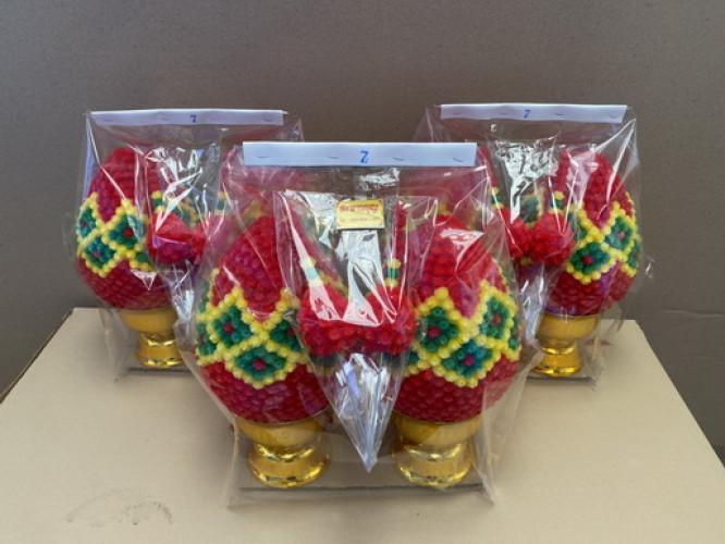 พานพุ่มผ้า  พานดอกไม้ สีแดง สมเด็จย่า ( สมเด็จพระศรีนครินทรา ) 8