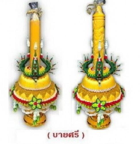 พุ่มดอกไม้เทียนพรรษาแต่งพานแบบบายศรี งานหัตถกรรมไทยสวยๆ สั่งล่วงหน้านะคะ 5