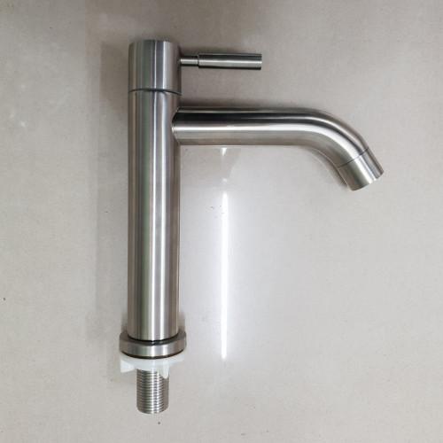 ก๊อกอ่างล้างหน้า-ล้างมือ ทรงสูง สแตนเลส แท่งกลม