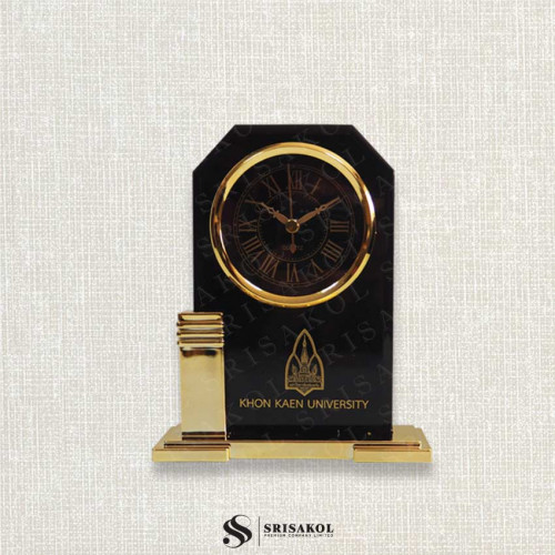 นาฬิกาตั้งโต๊ะ  เรือนดำ ฐานสีทอง รหัส  A2104-9C