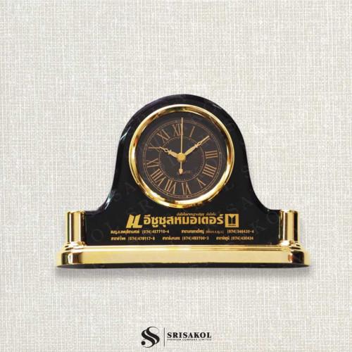 นาฬิกาตั้งโต๊ะ  เรือนดำ ฐานสีทอง รหัส A2104-16C
