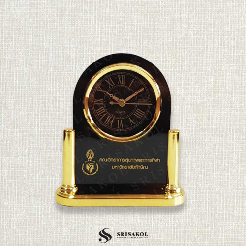 นาฬิกาตั้งโต๊ะ  เรือนดำ ฐานสีทอง  รหัส A2104-11C