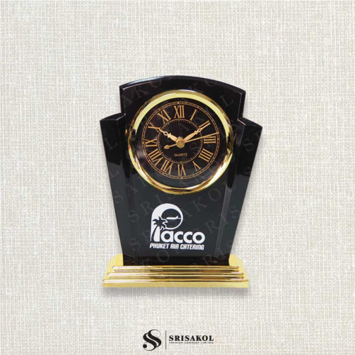 นาฬิกาตั้งโต๊ะ เรือนดำ ฐานสีทอง รหัส A2104-7C