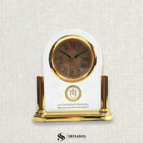 นาฬิกาตั้งโต๊ะ เรือนใส ฐานสีทอง รหัส A2104-10C