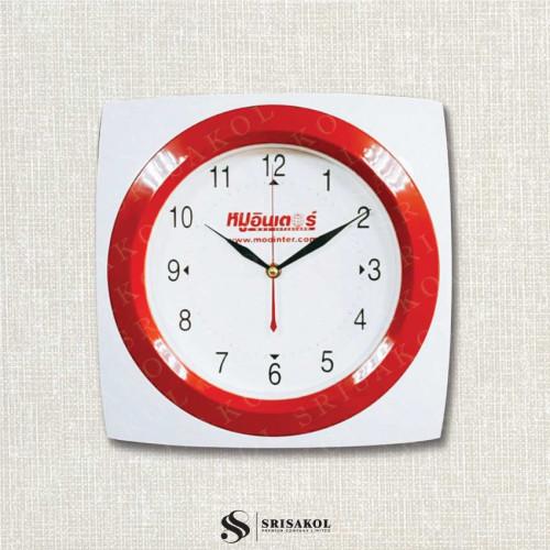 นาฬิกาแขวนสี่เหลี่ยม 12 นิ้ว ขอบขาว-แดง  รหัส A2102-1C