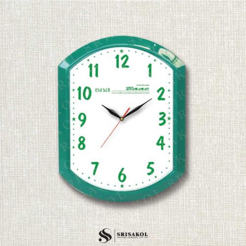 นาฬิกาแขวนเหลี่ยมมน ขอบสีเขียว รหัส A2102-23C
