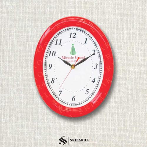 นาฬิกาแขวนรูปไข่ ขอบหนาสีแดง รหัส A2102-19C