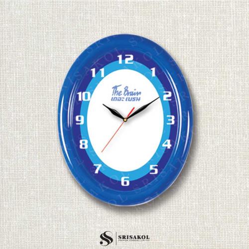 นาฬิกาแขวน รูปไข่ ขอบหนาสีน้ำเงิน รหัส A2102-20C