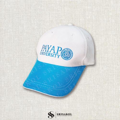 หมวก Cap 6 ชิ้น สีขาว ปีกแซนวิช สีฟ้า  รหัส A2123-13H