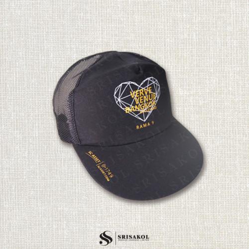 หมวก Cap 5 ชิ้น ผ้าดีวาย+ตาข่าย สีดำ  รหัส A2123-23H