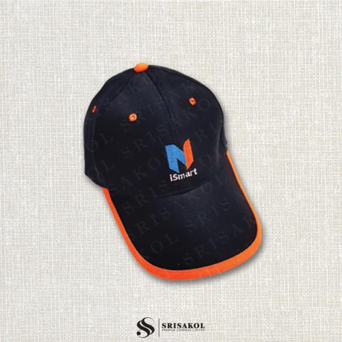 หมวก Cap 6 ชิ้น สีดำ  กุ้นปีกหมวกสีส้ม รหัส A2123-1H