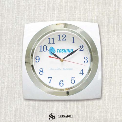 นาฬิกาแขวนสี่เหลี่ยม 12 นิ้ว ขอบขาว-เงิน  รหัส A2044-2C