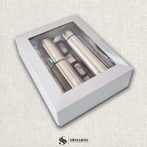 ชุดกระติกน้ำ+แก้วสแตนเลส 2 ใบ เก็บร้อน/เย็น พร้อมกล่อง รหัส A2114-1SJ