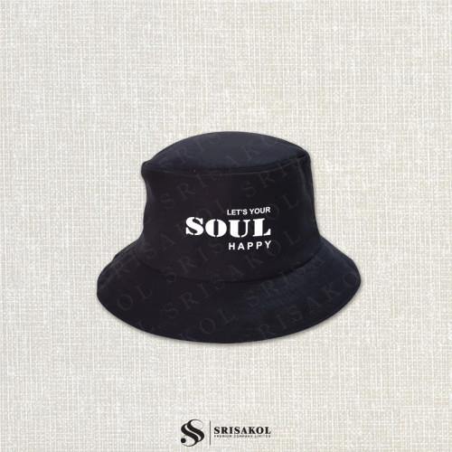หมวก bucket สีดำ ผ้าลายสอง รหัส A2123-19H