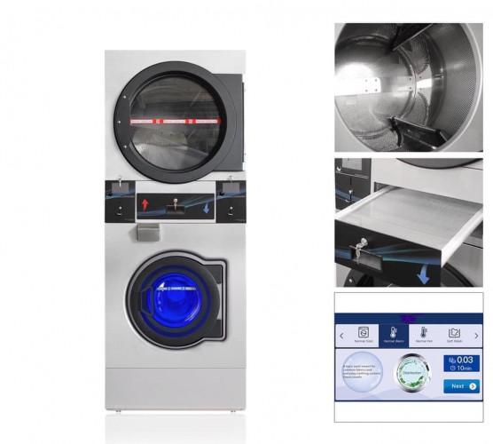 BGT เครื่องซักผ้า อบผ้าหยอดเหรียญ 2 ชั้น แบบอุตสาหกรรม ขนาด 12  กิโลกรัม 1
