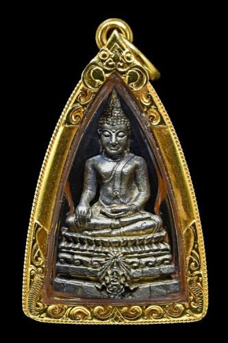 กริ่งพระพุทธชินสีห์ ภปร. ทันโต เนื้อเงิน บรรจุพระทันตะในหลวง ร.9 พร้อมเลี่ยมทอง กล่องเดิม