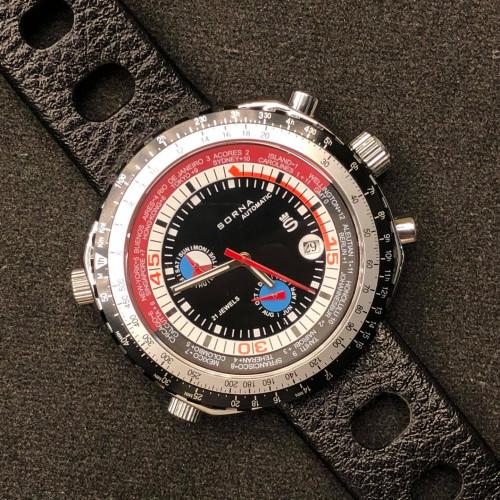 SORNA World Timer GMT 1970s Automatic Chronograph ขนาด 47x45 mm.