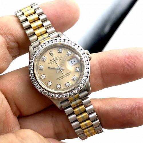 ROLEX Oyster Datejust Tridor 69179B Diamond Automatic สำหรับสตรี ขนาดตัวเรือน 26 mm.